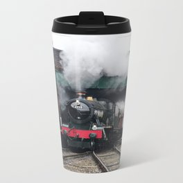 Vintage Steam Railway Train at the Station Metal Travel Mug