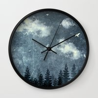 cloud Wall Clocks featuring The cloud stealers by HappyMelvin