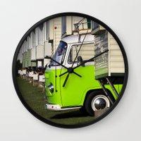 vw bus Wall Clocks featuring Vdub VW Bus by Rainer Steinke