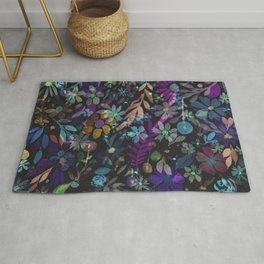Colorful Floral on Black Background Watercolor Rug