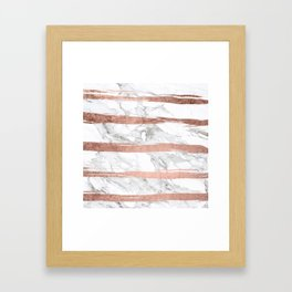 Modern chic faux rose gold brush stripes white marble Framed Art Print