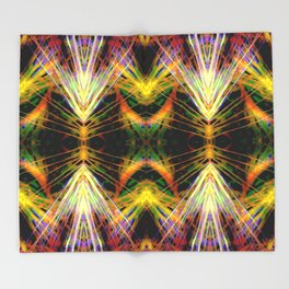 Yellow Bright Rays,Fractal Art Throw Blanket