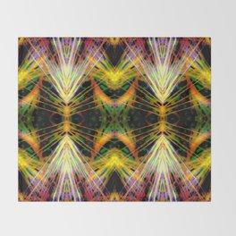 Yellow Bright Rays Fractal Art Throw Blanket