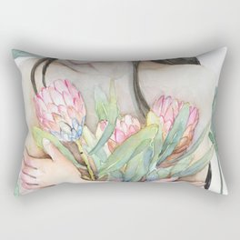 Lena Holding Proteas and Surrounded by Lotus Leaves Rectangular Pillow