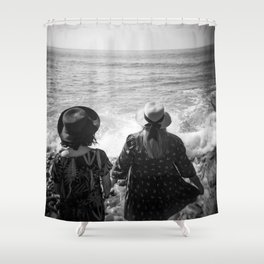 """Sisters on the Shoreline"" Holga photograph Shower Curtain"