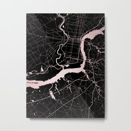 Philadelphia - Black and Rose Gold Metal Print