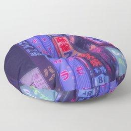 Neon kanji in tokyo Floor Pillow