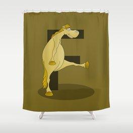 Pony Monogram Letter F Shower Curtain