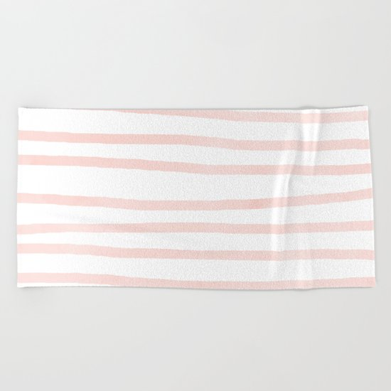 Seashell Pink Watercolor Stripes Beach Towel