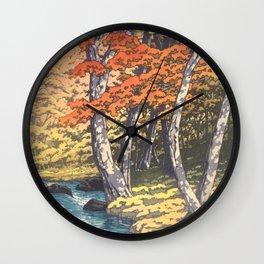 Japanese Woodblock -  Autumn in Oirase by Kawase Hasui, 1933 Wall Clock