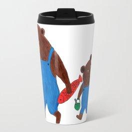 Papa Bear and Little Bear Going for a Picnic - Children's Illustration Travel Mug