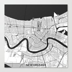 New Orleans Map Gray Canvas Print