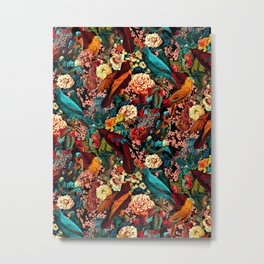 FLORAL AND BIRDS XVII Metal Print