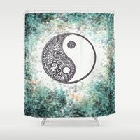 yin yang Shower Curtains featuring Yin & Yang by Hope