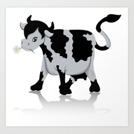 Cow chewing flower Art Print