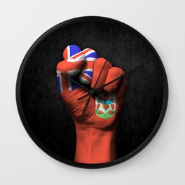 Bermuda Flag on a Raised Clenched Fist Wall Clock