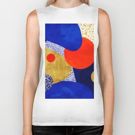 Terrazzo galaxy blue night yellow gold orange Biker Tank