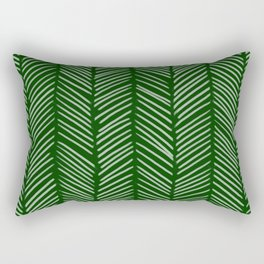 Forest Green Herringbone Rectangular Pillow