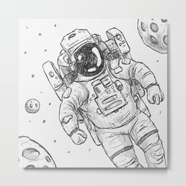 astro Traveller Retro Metal Print