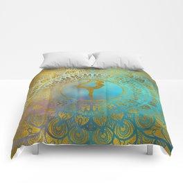 Yoga Asana Symbol in Gold Mandala Comforters