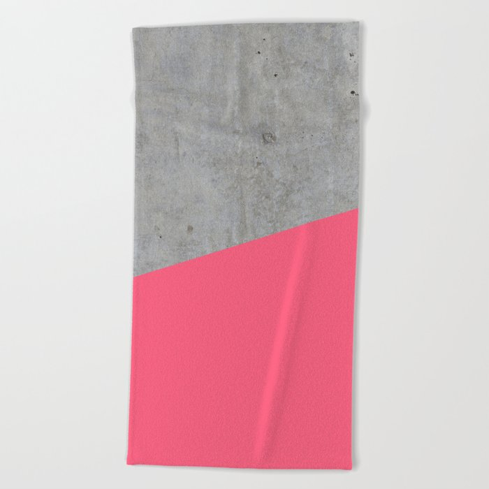 Concrete and pink Beach Towel
