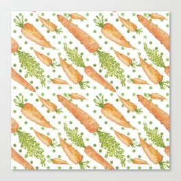 Carrots on Dotted Green Backgrond Watercolor Canvas Print