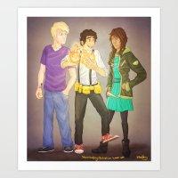 heroes of olympus Art Prints featuring The Heroes of Olympus, The Lost Hero by Shaungart