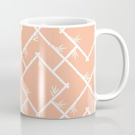 Bamboo Chinoiserie Lattice in Peach + White Coffee Mug