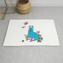 Blue Dog Butterfly Rug
