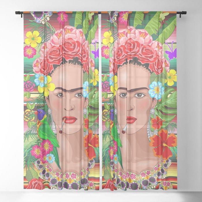 Frida Kahlo Floral Exotic Portrait Sheer Curtain