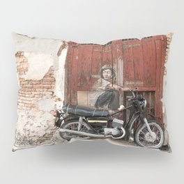 Irrational Fears - Dinosaur Chasing Boy On Motorcycle Pillow Sham
