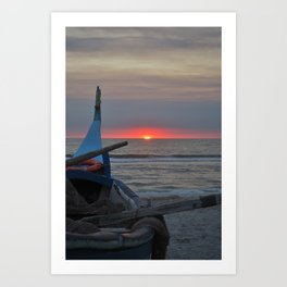 Sunset on an ocean beach Art Print