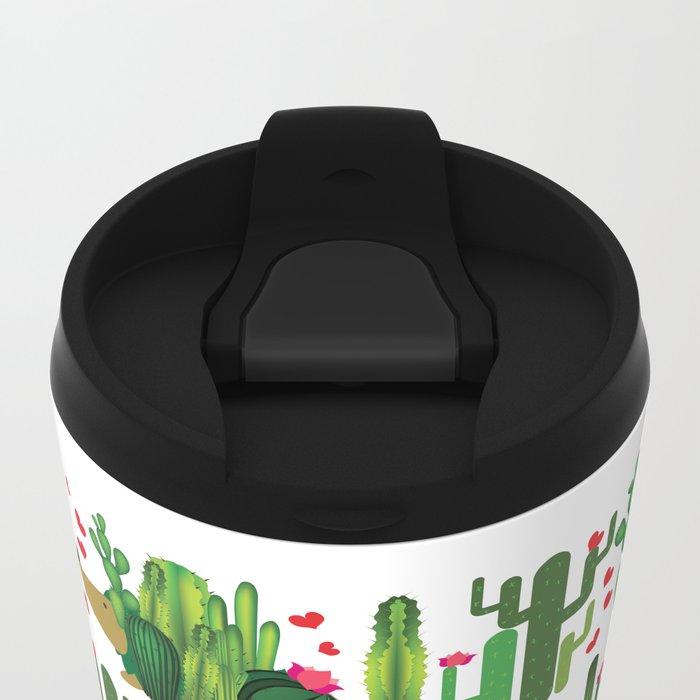 Hedgehog from cactus Metal Travel Mug