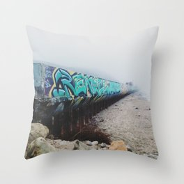 Beach Graffiti Throw Pillow
