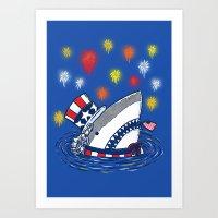 The Patriotic Shark Art Print
