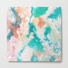 Sea Foam and Pink Abstract Metal Print