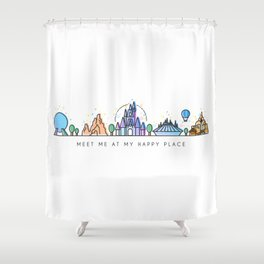 Meet me at my Happy Place Theme Park Skyline Shower Curtain