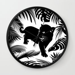 Black N White Cheetah Wild Cat Jungle King Wall Clock