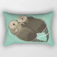 Significant Otters - Otters Holding Hands Rectangular Pillow