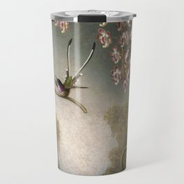 Orchids And Spray Orchids With Hummingbird 1890 By Martin Johnson Heade   Reproduction Travel Mug