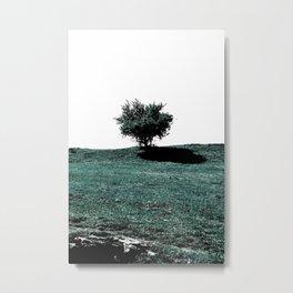 Tree On Hill Metal Print