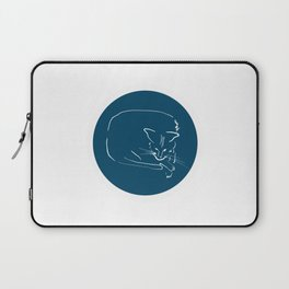 Relaxing Cat in blue circle Laptop Sleeve