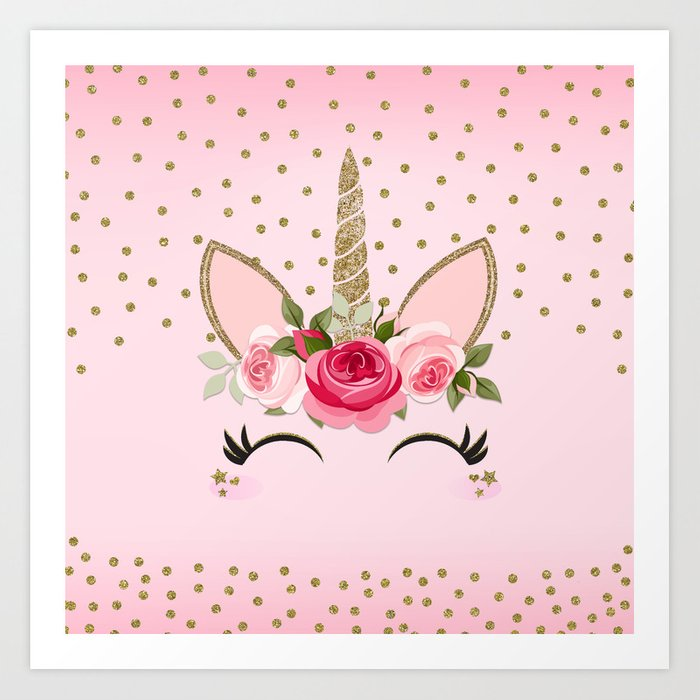 Pink & Gold Cute Floral Unicorn Kunstdrucke