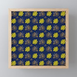 Penny Farthing And Yellow Flowers Framed Mini Art Print