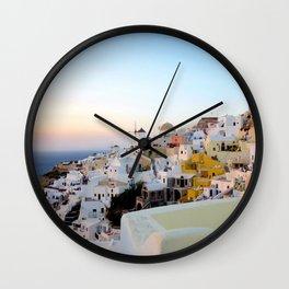 Wide Shot of Santorini at Sunset Wall Clock