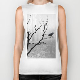 Black Crow in Foggy Forest A118 Biker Tank