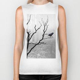 Black Crow in Foggy Forest A118 Biker Tank