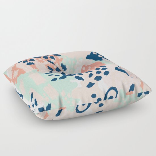 Floor Pillows For Nursery : Kala - abstract painting minimal coral mint navy color palette boho hipster decor nursery Floor ...