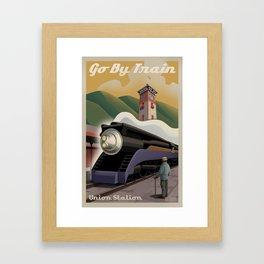 Vintage Union Station Train Poster Framed Art Print