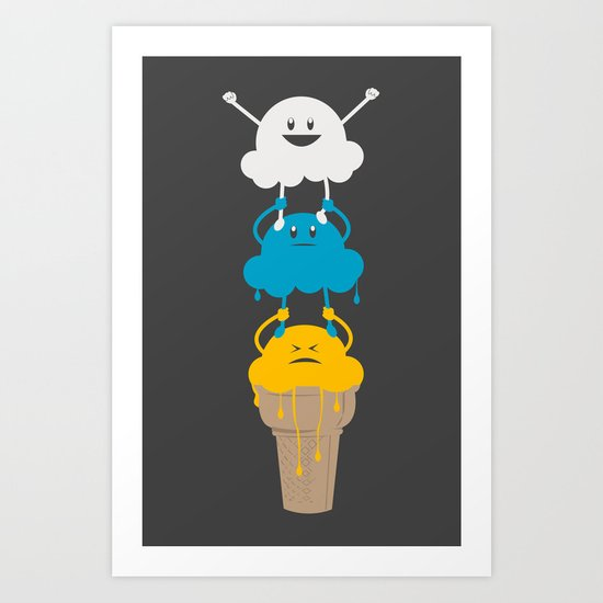 Ice Cream Cheerleading Stunt Art Print